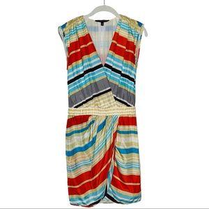Cynthia Steffe 100% Silk Striped faux wrap Dress